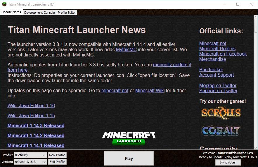 titan launcher minecraft